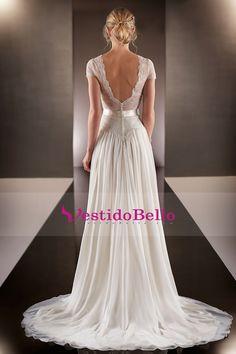2016 vestidos de manga corta con cuello en V de la boda de gasa y encaje de tren de barrido