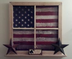 Vintage Decor Rustic Country Rustic decor faux decorative window with display shelf - chevron and burlap flag. I love the rustic flag -