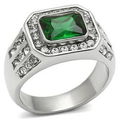 Mens Rings - Men's 316L Silver Stainless Steel Green Stone Polished Ring / Mens Jewelry