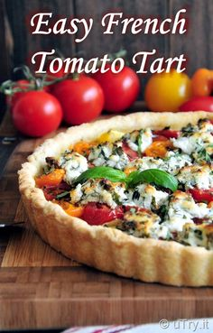 Elegant and gorgeous brunch idea! How to Make Easy French Tomato Tart 簡易法式蕃茄撻… Vegetarian Brunch, Vegetarian Recipes, Cooking Recipes, Healthy Recipes, Entree Recipes, Brunch Recipes, Summer Recipes, Vegetable Tart, Vegetable Dishes