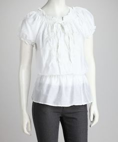$23 Look what I found on #zulily! White Embroidered Silk-Blend Peasant Top - Women by Dolce Cabo #zulilyfinds