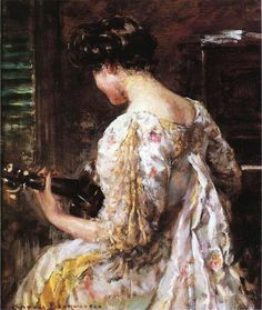 The Athenaeum - Woman with Guitar (James Carroll Beckwith - No dates listed)
