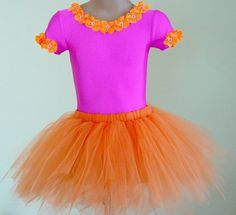 Dora the Explorer inspired costume - leotard, tutu, and leg warmers Size 2T - Girls 7 on Etsy, $70.00