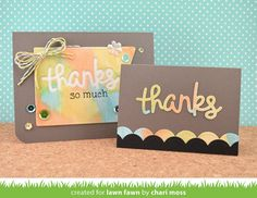 "Lawn Fawn -Script Thanks -LAWN CUTS DIES 1 pc This cute ""thanks"" is the perfect addition to your cards and crafts! Die size: 3""W x 1 1/4""H Made with care in the"