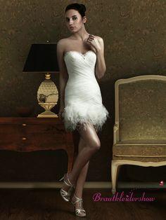 Feder Kurz Brautkleid  Kreuzige Drapierungen ausgefallen GWRW144 €285.60