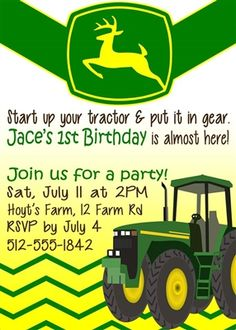 John Deere Birthday Party Invitation Order your personalized