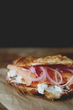 Griddled Croissant with Chive Cream Cheese, Smoked Salmon, and Pickled Onions | The Kitchy Kitchen