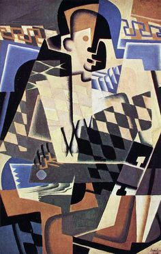 Harlequin with a Guitar by Juan Gris - Canvas Art Print Synthetic Cubism, Marcel Duchamp, Canvas Art Prints, Picasso Cubism, Cubism Art, Pablo Picasso, Monet, Sonia Delaunay, Georges Braque