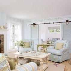 Cynthia's Cottage Design: ~ Coastal Cottage touches ~Love the shutter flanking the doorway! Coastal Living Rooms, Cottage Living, Coastal Cottage, My Living Room, Home And Living, Living Spaces, Coastal Style, Coastal Decor, Coastal Colors
