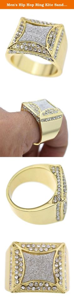 Men's Hip Hop Ring Kite Sand Blast Gold Tone Heavy Iced-Out Chunky Big Rapper Bling (8). Get your bling on with this chunky iced-out men's kite shape sand blast finish ring. Available in men's sizes 8-12.