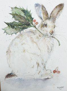 Rabbit and Holly. Christmas Animals, Christmas Art, Christmas Bunny, Christmas Images, Lapin Art, Photo D Art, Rabbit Art, Bunny Art, Tier Fotos
