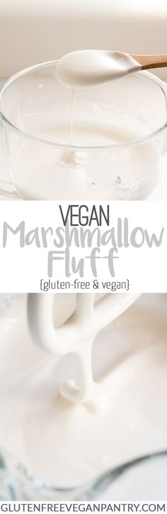 Vegan Marshmallow Fluff - Made with aquafaba / chickpea brine / water. Cut back some on the almond extract- it was a little too much. Healthy Vegan Dessert, Coconut Dessert, Vegan Dessert Recipes, Vegan Treats, Vegan Foods, Vegan Dishes, Vegan Sauces, Healthy Food, Vegan Gluten Free