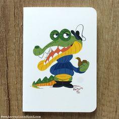 Crocodile captain greeting card by #TerrapinAndToad. A fun, brightly coloured cartoon crocodile greeting card.