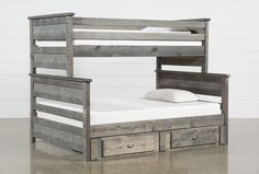 Summit Grey Twin Over Full Bunk Bed With Trundle With Mattress Teen Bunk Beds, Full Bunk Beds, Bunk Beds With Stairs, Kid Beds, Loft Beds, Bunk Bed With Trundle, Loft Spaces, Living Spaces, Master Bedrooms