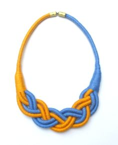 blue and yellow braided fabric rope necklace by Beata Te