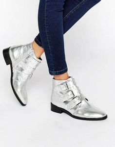 be8507e875a ASOS ASHLEIGH Leather Studded Ankle Boots Buckle Boots