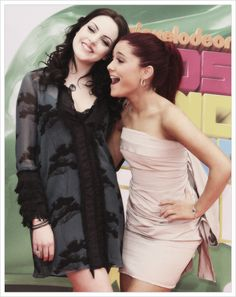 Ariana Grande (Cat Valentine) and Liz Gillies (Jade West) share a laugh at the KCA's.