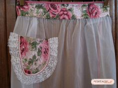 White Sheer Apron with Pink Flowers by thevintagedoll on Etsy, $18.50