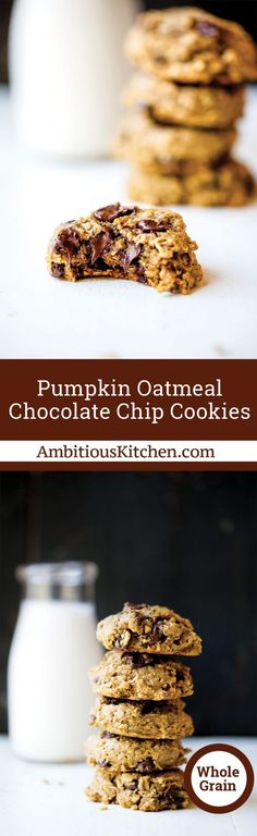 Whole grain pumpkin oatmeal chocolate chip cookies packed with cozy pumpkin flavor   plenty of chocolate chips. Made with coconut oil instead of butter!
