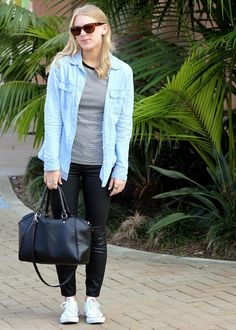 Wearing a Gap button down, Old Navy shirt and Madewell coated denim