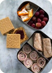 """Easy lunch box ideas: ham, cream cheese and salami """"sushi"""" on a sprouted wheat tortilla; mini bell peppers filled with cream cheese spiked with dice salami; and PB sandwiches on graham crackers. Whats For Lunch, Lunch To Go, Eat Lunch, Lunch Time, Lunch Recipes, Lunch Meals, Kid Recipes, Recipies, Lunchbox Ideas"""