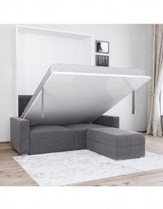 At Expand Furniture we specialize in custom space saving furniture. our sectional wall bed couch provides the user with great seating and a hidden bed. Murphy Bed Desk, Murphy Bed Plans, Murphy Bed With Couch, King Murphy Bed, Expand Furniture, Space Saving Furniture, Modular Furniture, Furniture Online, Furniture Design