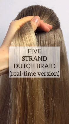 Five Strand Dutch Braid Tutorial Hair Tutorials is part of Hair - Stunning Braids Tutorial by Cool Braid Hairstyles, Braided Hairstyles For Wedding, Braided Hairstyles Tutorials, Girl Hairstyles, Hair Tutorials, Wedding Braids, Hair Tutorial Videos, Wedding Hair, Teenage Hairstyles