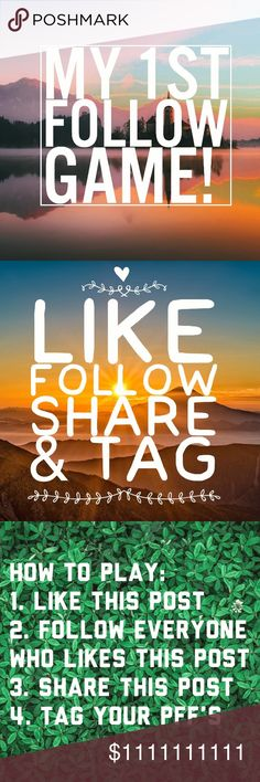 🌟🌟🌟MY FIRST FOLLOW GAME!!🌟🌟 like Follow share 🎉🎉My first follow game! 🎉🎉  ❤️I'm super excited to have you join in this game with me! Please share this game! And include all of your friends, followers & PFF's so they can get tons more followers too! Let's work together, and help each other grow! 🌷Only takes a few minutes!  How To: 🌟LIKE this listing  🌟FOLLOW everyone who likes this listing 🌟SHARE this listing often 🌟TAG your friends & fellow Poshers 🌟CHECK back often for new…