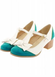 Carol Shoes Mid Heel T-strap Pumps. Bow Detail. Two Tone Green & White Wing Tip Design. Side Buckle Closure.  Synthetic Upper. Charm Feature.