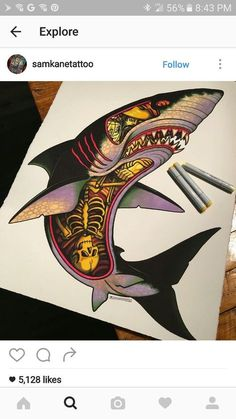 Reasons Why It's Awesome to Get a Tattoo is part of Shark tattoos Tattoos are popular now more than ever People can have a multitude of reasons why to get a tattoo For some, it's a sort of mem - Hai Tattoos, Body Art Tattoos, Sleeve Tattoos, Tatoos, Tribal Dragon, Red Dragon Tattoo, Tattoo Caligraphy, Badass Tattoos, Cool Tattoos