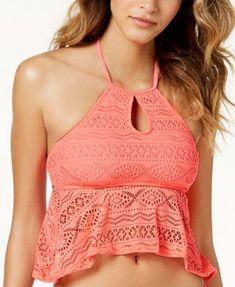 Hula Honey Little Wild One Crochet Keyhole Tankini Top | macys.com