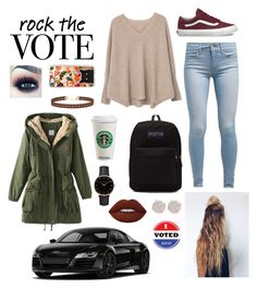 Voting in style. by lilicote2002 on Polyvore featuring polyvore fashion style MANGO Levi's Vans JanSport Topshop Melissa Joy Manning Miss Selfridge Casetify Lime Crime clothing ivoted votinginstyle