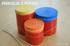 Bębenki z puszek i baloników. Drums of tin cans and balloons. Musical Instruments, Balloons, Candle Holders, Diy, Tin Cans, Drums, Therapy, Music Instruments, Candlesticks