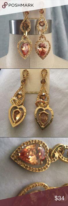 "Heart crystal gold color showgirl earrings Heart crystal gold color showgirl earrings length 3.25"" Jewelry Earrings"