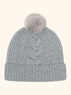 Fur Bobble Cable Hat in Serpentine Blue With Silver Grey Fur - N.PEAL Luxury Cashmere