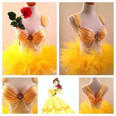 Beauty & the Beast inspired rave set Belle Halloween Costumes, Belle Costume, Rave Costumes, Adult Costumes, Disney Princess Costumes, Princess Outfits, Mermaid Bra, Fantasias Halloween, Edm Outfits