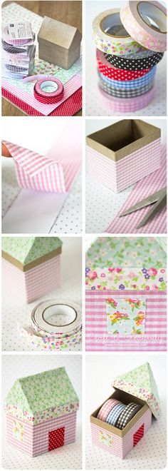 Fabric House Boxes, covered with self-adhesive fabric and fabric tape - by Craft & Creativity