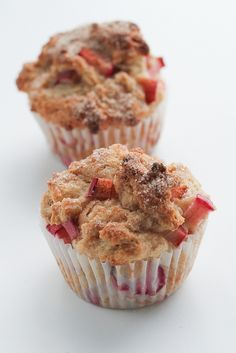 Rhubarb cinnamon muffins. Made with Greek yogurt and Truvia, they're not totally bad for you! Yum!