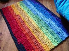 rainbow crochet rug - would be pretty in softer colours