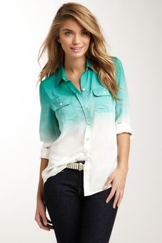 Brooke Dip Dye Silk Shirt - LOVE the ombre effect on a white button-up shirt! Lucky Brand