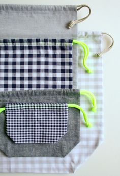 easy DIY drawstring bags by PurlBee - love the mix of checks and solids