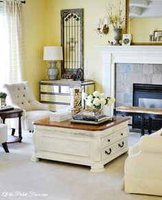 DIY Chalky Finish Coffee Table Makover Tutorial + french country living room decor atthepicketfence.com