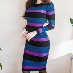 Autumn Winter Women Sweater Dress O-Neck Knitted Bodycon Long Sleeve Office Dress Multicolor Striped Dress Multi One Size Women Sleeve, Office Dresses, Elegant Dresses, Striped Dress, Knit Dress, Lunges, Autumn Fashion, Sweaters For Women, Bodycon Dress