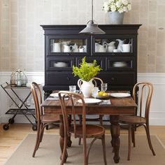 70 Inspired Ideas for Dining Room Decorating- walls covered with book pages with dilute craft glue