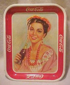 Vintage-MEXICAN-Coca-Cola-Tin-Tray-Lady-With-Braids-Beads-Spanish