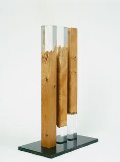 "ART HuNTER — Vera Röhm [Germany] (b 1943) ~ ""Triplet"", 1992. Elm wood, Plexiglas (55 x 5 x 5 cm each)."