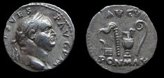 Vespasian Denarius. July-December, 71 AD.   Obv: IMP CAES VESP AVG P M, laureate head right   Rev: AVGVR PON MAX, sacrificial implements: ladle, whip, jug & lituus.