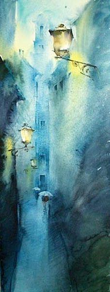 Viktoria Pridschedko i love te fluid lumious watercolours she makes ... and what vibrant colours !