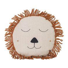 Safari cushion lion from Ferm Living Childrens Cushions, The Lion Sleeps Tonight, Rose Care, Cute Lion, Face Design, Rainbow Baby, Nursery Inspiration, Decoration, Animals