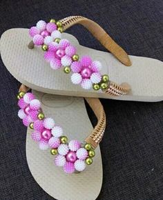 Crochet Sandals, Beaded Sandals, Crochet Shoes, Bare Foot Sandals, Greek Sandals, Decorating Flip Flops, Tambour Beading, Japanese Patchwork, Bling Shoes